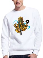 Macoking Men's Designer Sweatshirts Hip Hop Ganesh Printed Cotton Pullovers White XXL