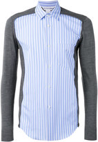 Comme des Garcons knitted sleeves striped shirt - men - Cotton/Acrylic/Wool - M