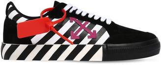 Off-White Off White Striped Low-top Suede & Canvas Sneakers