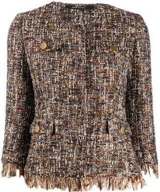 Tagliatore Cropped Sleeves Tweed Jacket
