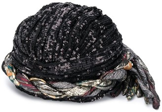Saint Laurent Sequin-Embellished Braided Hat