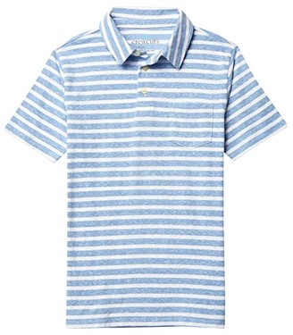 crewcuts by J.Crew Short Sleeve Stripe Abbott Polo (Toddler/Little Kids/Big Kids) (Blue/White) Boy's Clothing