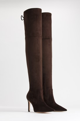 Good American The Overtime Boot | Suede Chocolate Brown002
