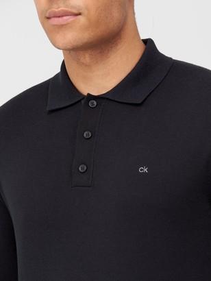 Calvin Klein Cotton Silk Long Sleeve Polo Shirt - Black