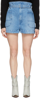 Isabel Marant Blue Denim Paper Bag Shorts