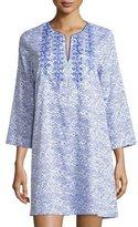 Oscar de la Renta Geo-Printed Sleepshirt with Embroidery, Blue Linear Print