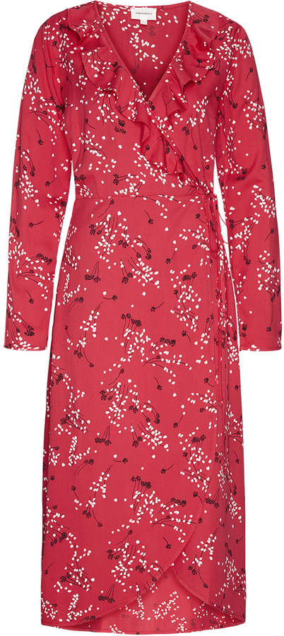 Armedangels Dilaan wrap dress in red spring ditsies print - LARGE - Red