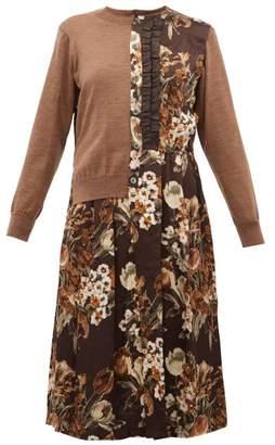 Junya Watanabe Wool And Floral-print Satin-panelled Cardigan - Womens - Brown Multi