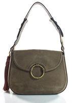 Tory Burch Brown Suede Magnet Closure 4 Pocket Saddle Handbag