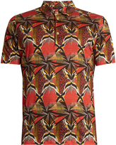 Etro Geometric-print linen polo shirt