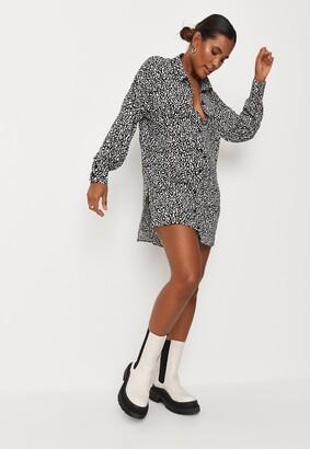Missguided Black Dalmatian Print Drop Back Oversized Shirt Dress