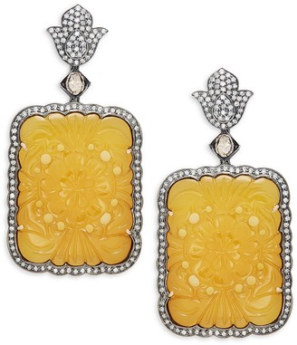 Artisan Two-Tone, Agate Diamond Drop Earrings
