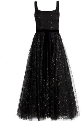 Marchesa Glitter Tulle Sleeveless Dress