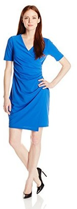 Adrianna Papell Women's Petite Solid Vneck Ruched Techno Knit Dress