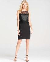 Ann Taylor Petite Faux Leather Lace Dress