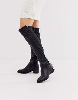 Lost Ink knee high rider boot in black