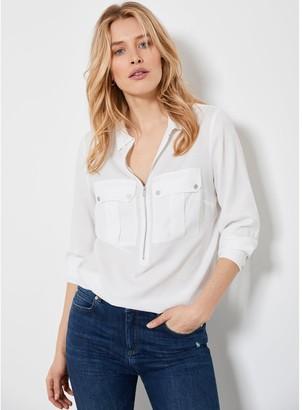 Mint Velvet Utility Zip Front Shirt - Ivory