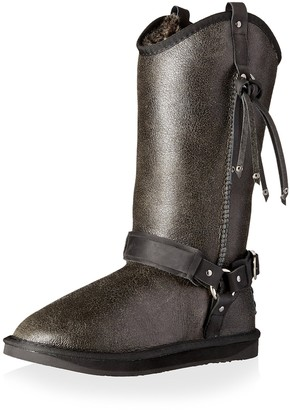 Australia Luxe Collective Women's Long Sheepskin Boot with Harness & Fringe