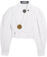 Jacquemus Asymmetric Wrap-effect Cotton Top - White