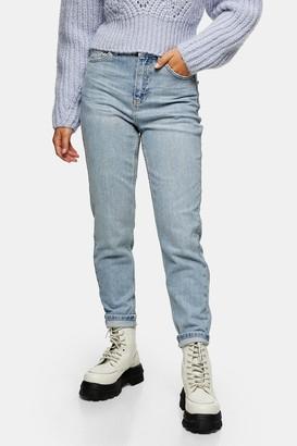 Topshop Womens Petite Bleach Premium Mom Tapered Jeans - Bleach Stone