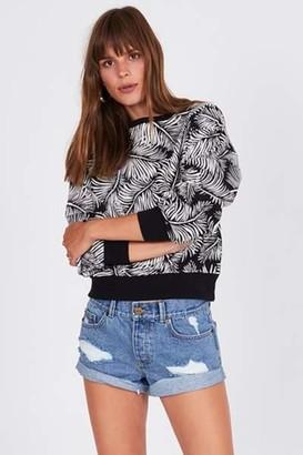 Amuse Society Sweater With Palm Print Black - S