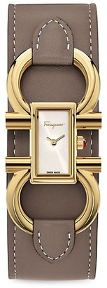 Salvatore Ferragamo Double Gancini Stainless Steel Cuff Bracelet Watch