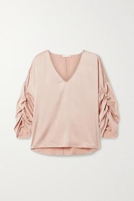 Skin Gathered Washed Stretch-silk Satin Top - Pink