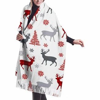 Yinyinyin. Cashmere Scarf Red Plaid Reindeer Elk Deer Womens Scarf Large Soft Silky Pashmina Cashmere Shawl Wrap