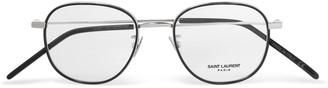 Saint Laurent Round-Frame Tortoiseshell Acetate and Silver-Tone Optical Glasses - Men - Black