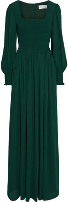 Mikael Aghal Shirred Crepe De Chine Gown