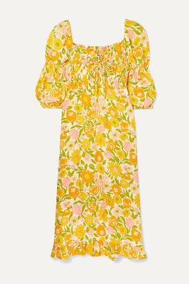 Faithfull The Brand Nora Shirred Floral-print Crepe Midi Dress - Yellow