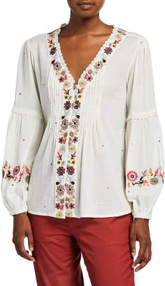 philosophy Floral Embroidered Long-Sleeve Button-Down Top