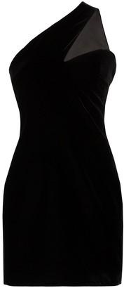 Saint Laurent One-Shoulder Velvet Mini-Dress