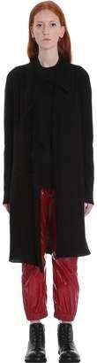Rick Owens Long Jacket Cardigan In Black Wool
