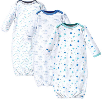 Luvable Friends Boys' Infant Gowns Boy - Blue Pattern Gown - Set of Three