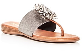 Andre Assous Women's Novalee Leather Fringe Demi Wedge Sandals