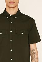 Forever 21 FOREVER 21+ Flap-Pocket Cotton Shirt