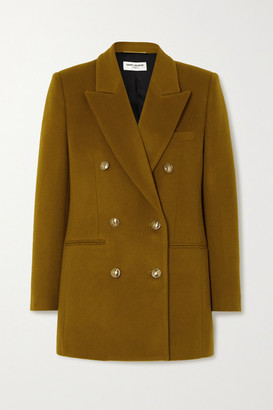 Saint Laurent Double-breasted Wool And Cashmere-blend Felt Blazer - Mustard