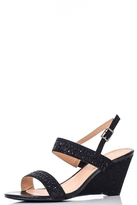 Quiz Black Diamante Strap Wedges