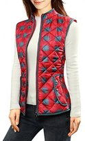 Allegra K Women Zip Up Plaids Quilted Padded Vest M