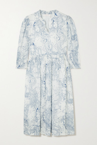 Thumbnail for your product : See by Chloe Printed Cotton And Silk-blend Crepon Midi Dress - Sky blue