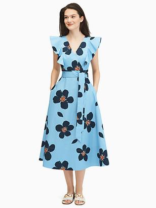 Kate Spade Grand Flora Poplin Midi Dress