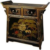 Oriental Furniture Unique Furniture Home Decor 32-Inch Pine and Crane Chinese Black Lacquer Altar Top Cabinet Chest