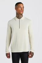 boohoo Mens Cream Knitted Zip Collared Polo, Cream
