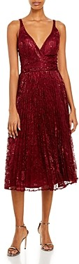 Laundry by Shelli Segal Pleated Metallic Lace Midi Dress