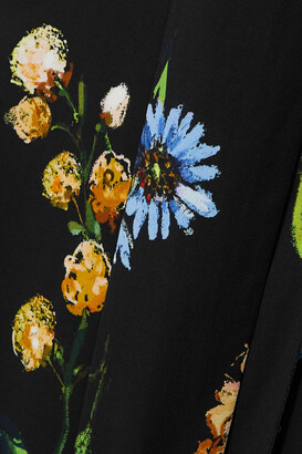 Lela Rose Convertible Tie-detailed Floral-print Georgette Midi Dress - Black