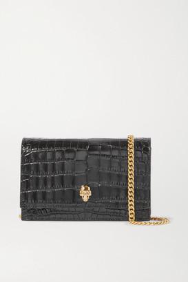 Alexander McQueen Skull Small Embellished Croc-effect Patent-leather Shoulder Bag - Black