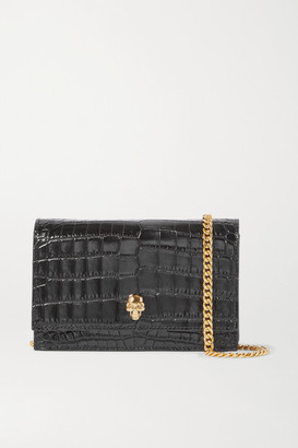 Alexander McQueen Skull Small Embellished Croc-effect Patent-leather Shoulder Bag - Black