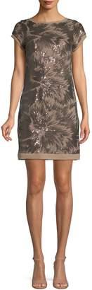 Vince Camuto Short-Sleeve Sequin Floral Dress