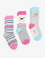 Joules 124261 Womans Bamboo Socks Pack Of 3 in Blue One Size